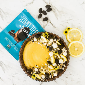 Lemon Tart with Dark Chocolate Cocoa Skinny Dipped Almonds