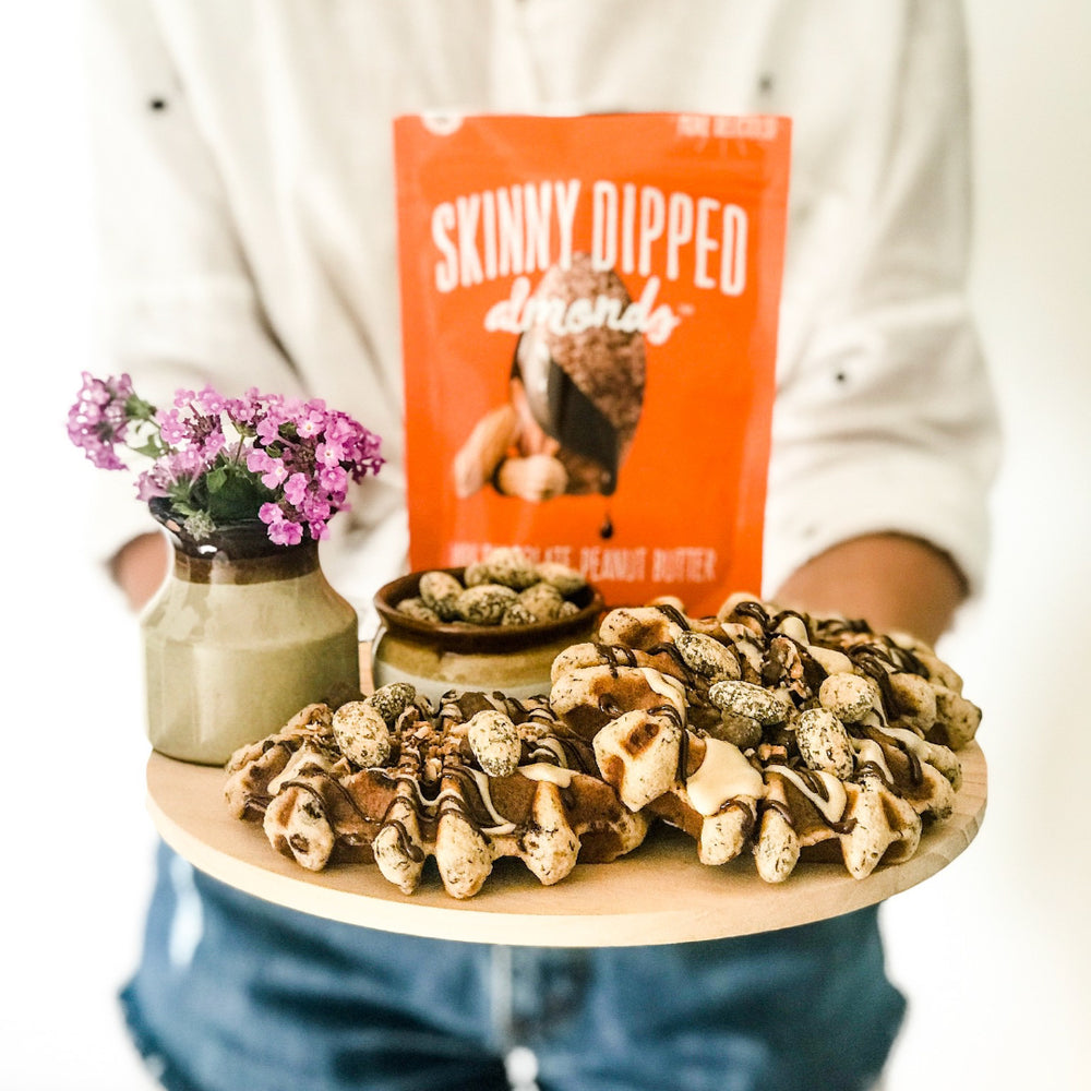 Peanut Butter Skinny Dipped Waffle Recipe
