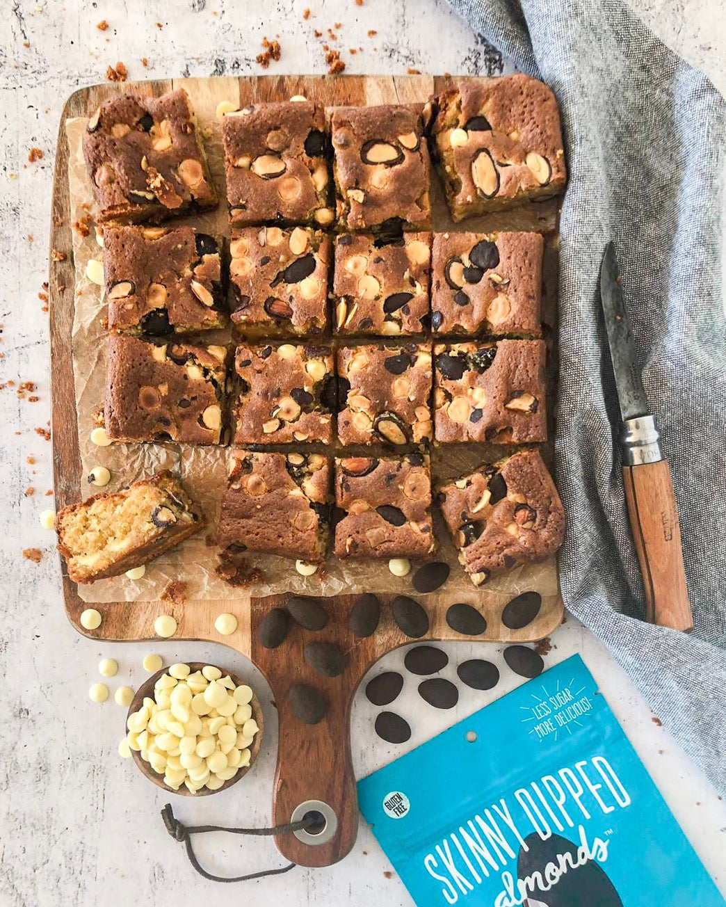 Chocolate Almond Blondies