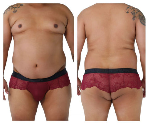 CandyMan 99304X Lace Thongs Color Burgundy