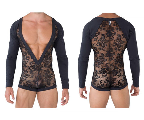 CandyMan 99465 Lounge Lace Bodysuit Color Black