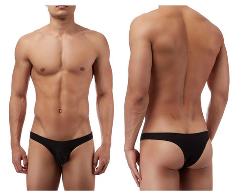 Male Power PAK874 Euro Male Spandex Full Cut Thong Color Black