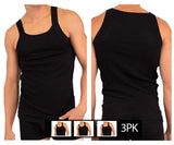 Rico 250503 3PK Modern Tank Top Color Black