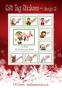Christmas Gift Tag personalised stickers, design 2, 36 pack