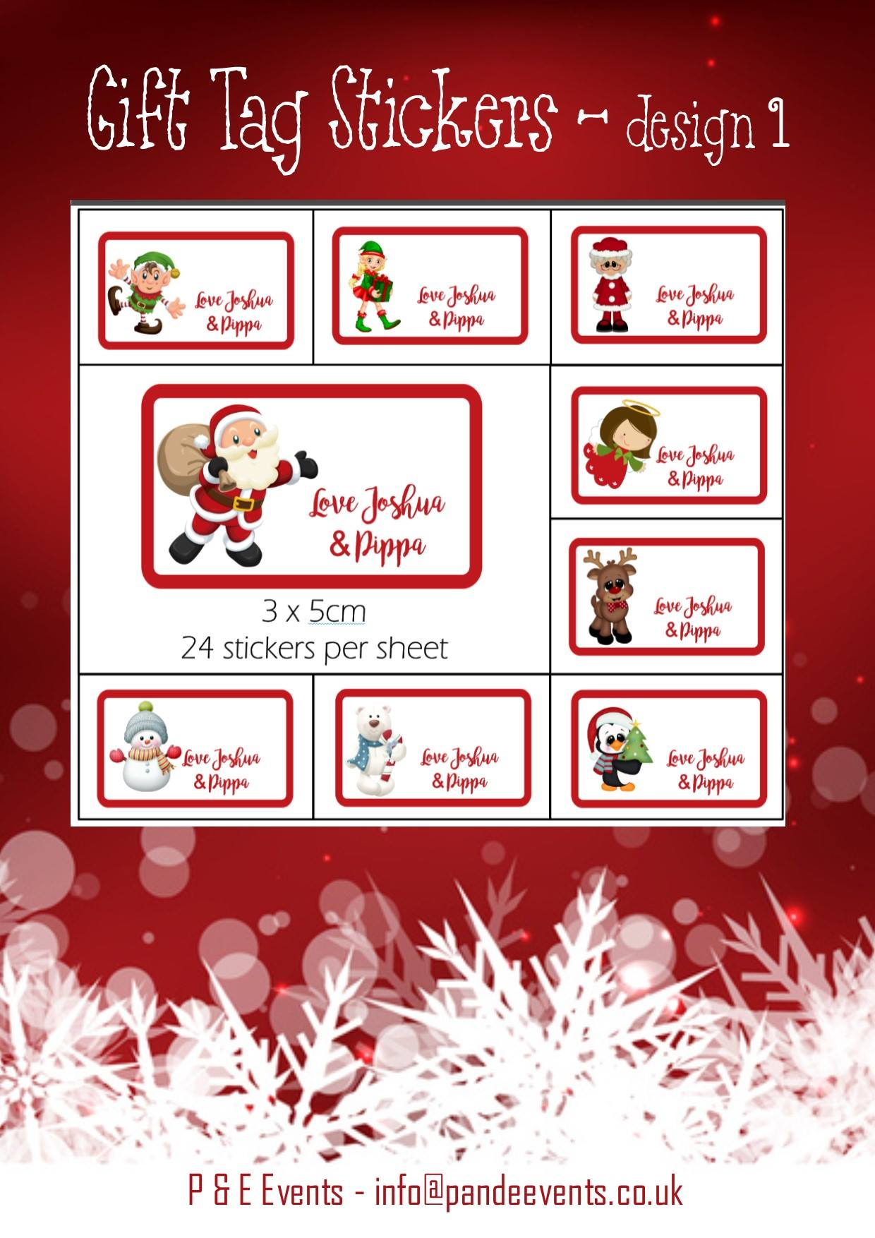 Christmas Gift Tag personalised stickers, design 1, 24 pack