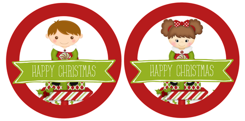 24 X 40 mm Happy Christmas Girl and Boy Present Stickers