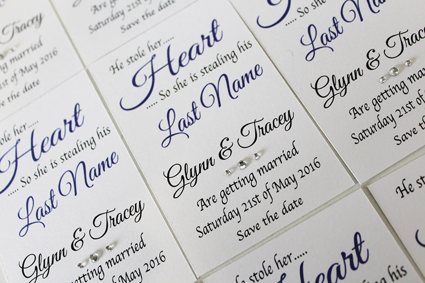 He stole her heart Magnetic save the date cards