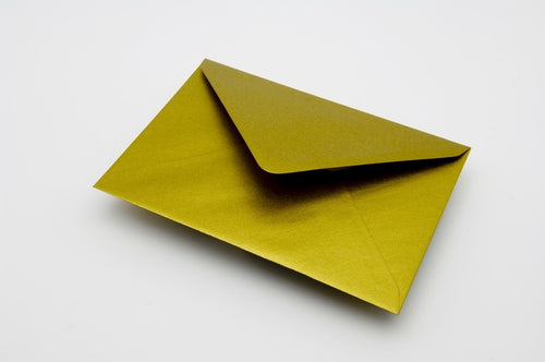 Gold metallic envelopes in 6 sizes