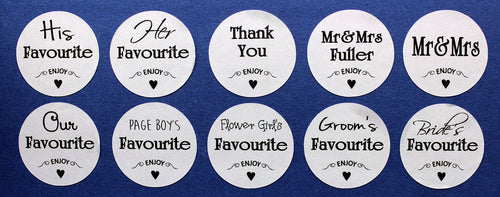 10x Wedding favour sweet bag stickers his & her favourite