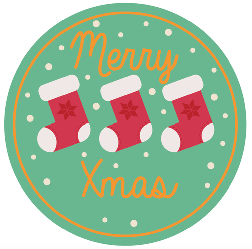 24 X 40 mm Merry Christmas Stocking Sticker