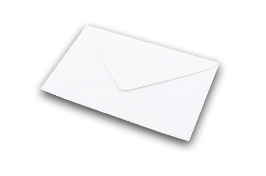 White untextured envelopes in 7 sizes