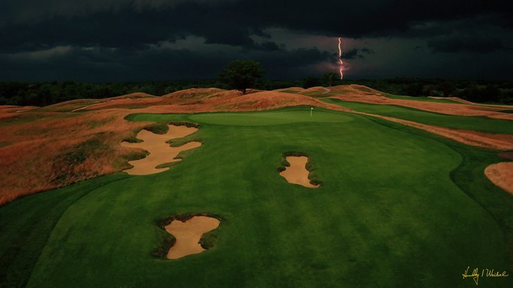 Erin Hills Hole 7 Aerial Drone Shot with Lightning Strike