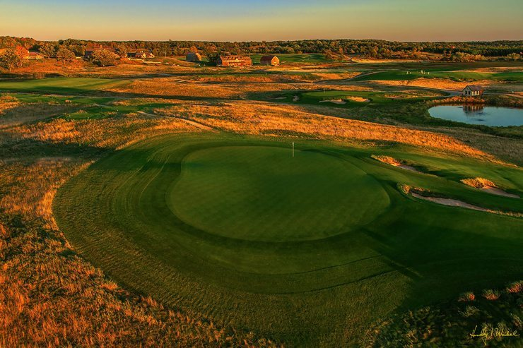 Aerial Shot of Hole #8 at Erin Hills just before sunset