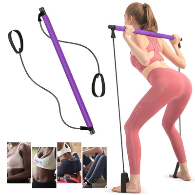 Tragbare Pilates Bar Kit Übungswiderstand Band Yoga Pilates Stick Pilates Stick Muskelaufbau Bar Home Gym mit Fußschlaufe für Ganzkörpertraining - AnglinkDE