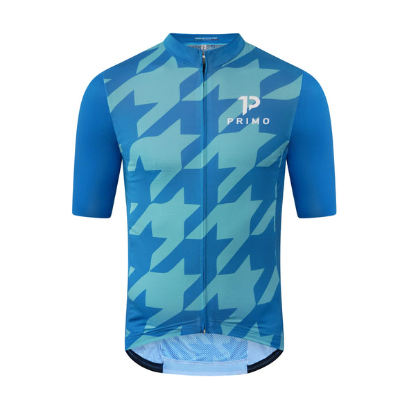 Corsa Houndstooth Forest Blue Jersey - Cigala Cycling Retail