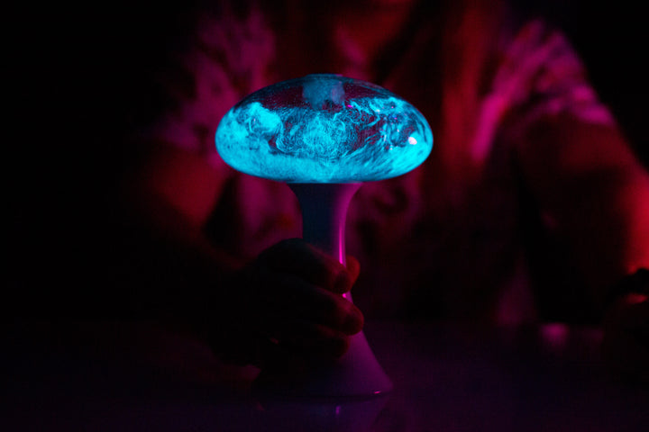 Mushlume UFO contains bioluminescent dinoflagellates. Seen during red tides in San Diego California, these dinoflagellates bioluminesce blue creating beutiful glowing waves at night. The Mushlume allows you to grow dinoflagellates in your own home.