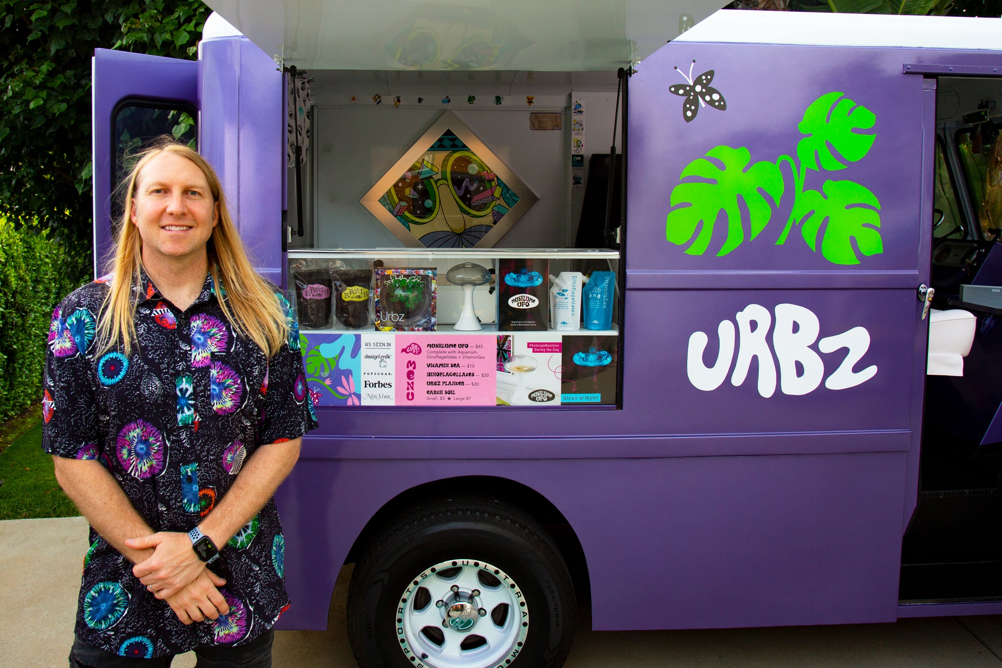 Andy with Urbz 1969 Chevy P10 Step Van in San Diego California selling bioluminescent plankton and hanging planters
