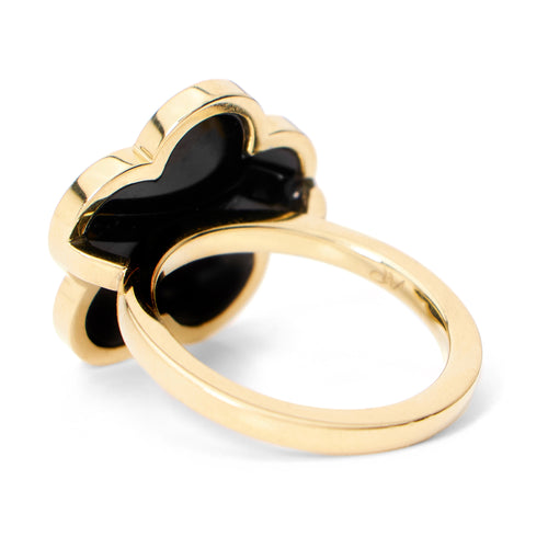 Black Onyx Flower Ring