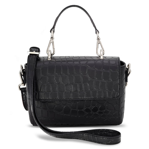 Mini Flap Croc Embossed Satchel Bag