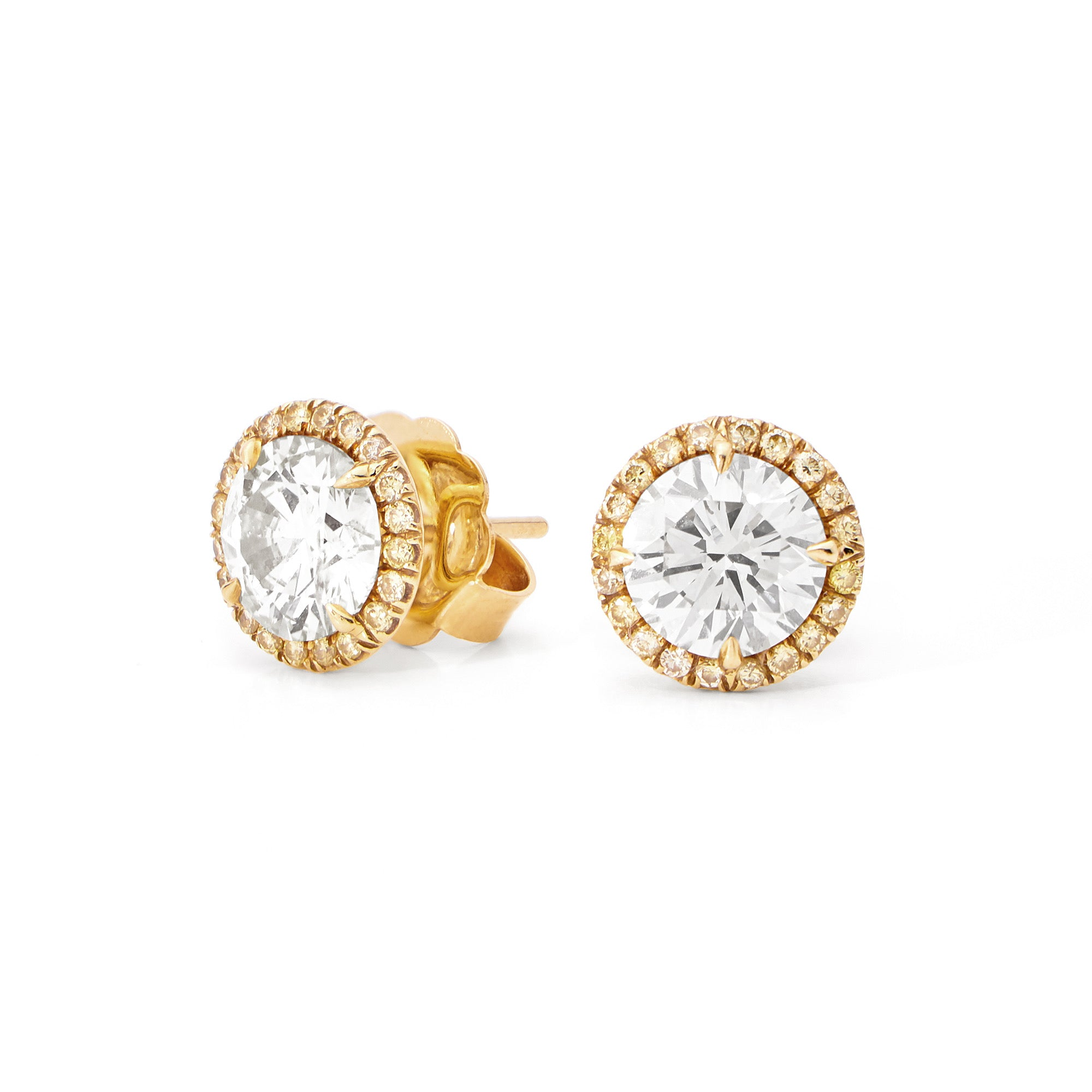 YELLOW DIAMOND HALO EARRINGS