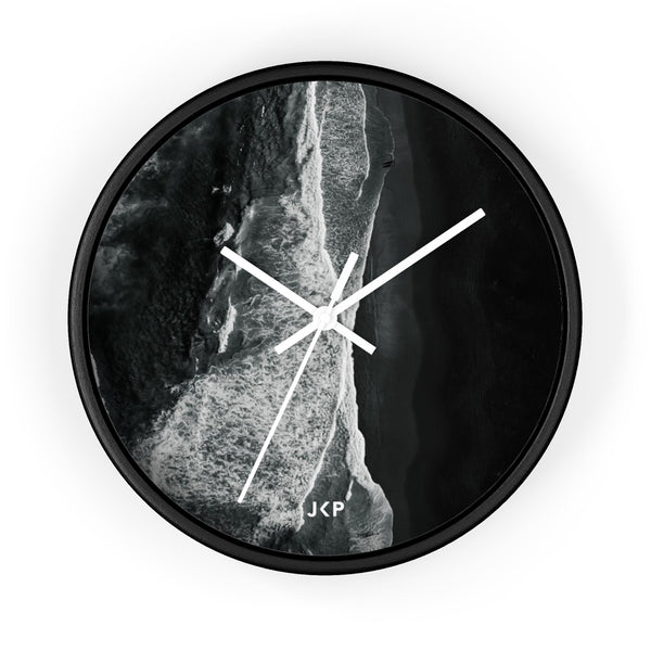 Black Beach Wall clock