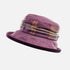 Mulberry& Purple Checked Hat with Purple Velvet Under Brim.