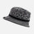 Grey Vintage Small Brimmed Hat with Abstract Pattern.
