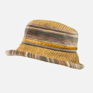 Mustard & Grey Striped Winter Wide Brim Ladies Hat