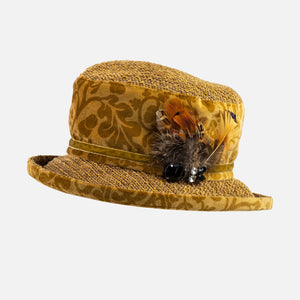 Mustard Vintage Velour & Chenille Small Brim with Feather Decoration.