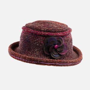 Knitted Hat with Boned Brim decorated with Checked Tweed Flower Pin.