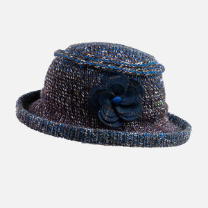 Knitted Brimmed designer Hat with tweed Flower