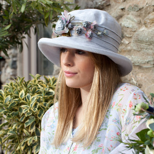 Linen, Packable Sun Hat with Silk Flower