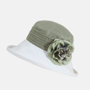 Two-Tone Linen Sun Hat with Large Flower