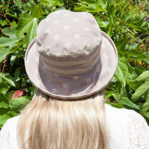 Japanese Linen Spotty Stripey Sun Hat