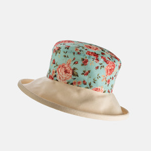 Floral Cotton Sun Hat with Boned Brim