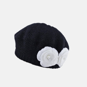 Knitted Beret with Knitted Flower
