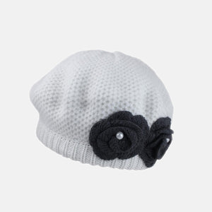 PT09 - Knitted Beret with Knitted Flower