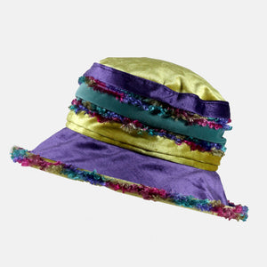 Purple and Yellow Fluffy Velvet Hat