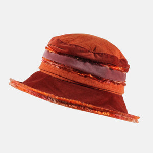 Orange and Rust Fluffy Velvet Hat