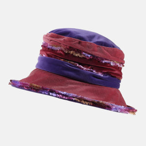 PT103 - Wine, Purple and Pink Fluffy Velvet Hat