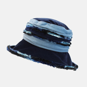 PT103 - Navy and Blue Fluffy Velvet Hat