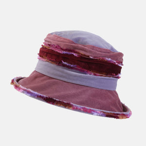 PT103 - Lilac, Pink and Wine Fluffy Velvet Hat