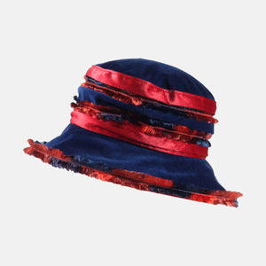 Navy and Red Fluffy Velvet Hat