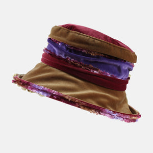 PT103 - Brown, Purple and Wine Fluffy Velvet Hat