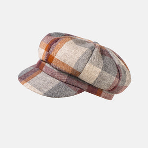 Checked Wool Baker Boy Cap
