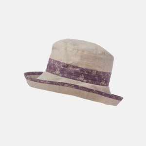 Soft Brim Cotton Sun Hat with Floral Trim