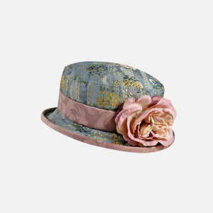 PT21 - Small Brim Brocade Hat with Flower Decoration