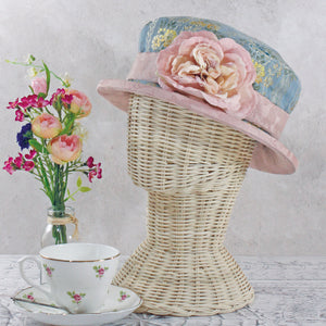Small Brim Brocade Hat with Flower Decoration