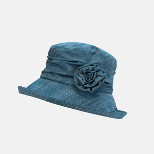 Linen Cloche Hat with Flower Brooch