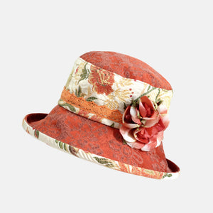 Vintage Fabric Floral Hat with Peach Flower